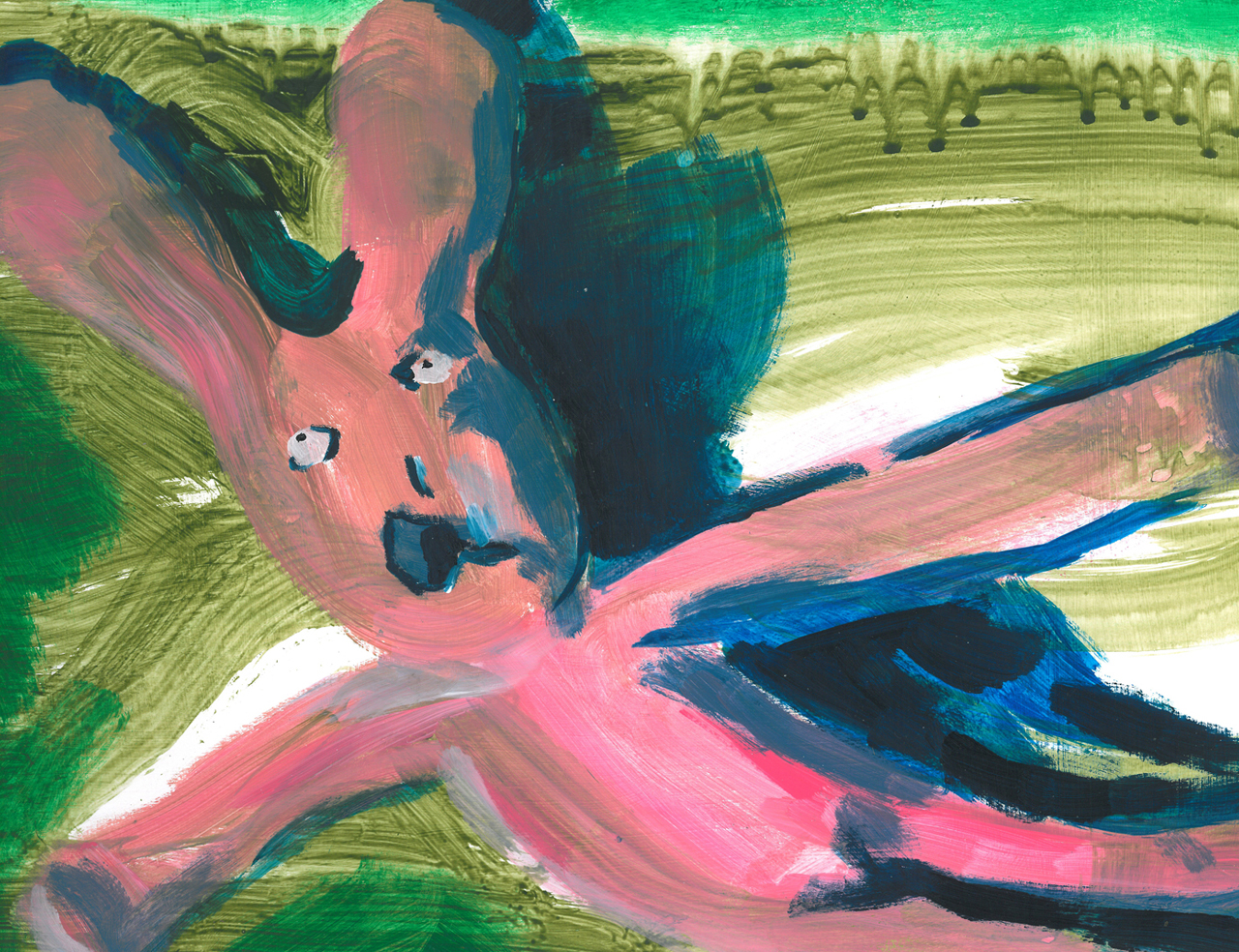 Hare left lying | Acrylic on Paper / 33x22 cm / 2015